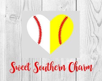 baseball svg file - softball svg file - baseball heart svg - softball svg heart - baseball softball heart - svg file - svg files - cut file
