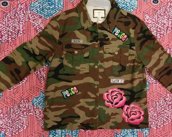 Army Fatigue Jacket /Camouflage/With Patches
