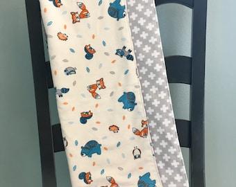 Woodland Animal Flannel Baby Blanket, Gray, Blue, Orange (Ready to Ship)