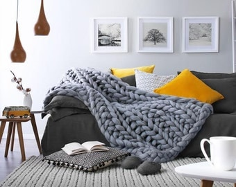 Chunky knit Blanket. FREE Ship! Chunky knit Throw, pure Merino wool. Giant knit blanket, knitted blanket, large knit blanket, wool throw