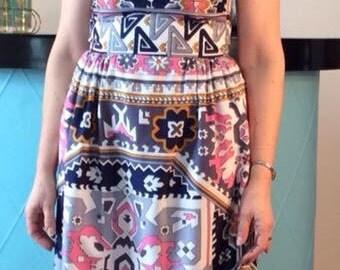 mod abstract border print maxi dress 1960's