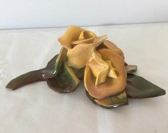 Vintage porcelain/ ceramic handmade  roses 1970's
