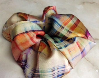 Multi color plaid scrunchie,Novelty fabric used,Hair accessory,Scrunchy,Scrunchies,Luxury gifts