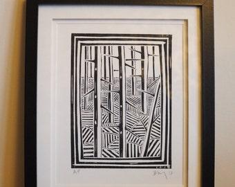 Trees Version Three - Lino Cut Print