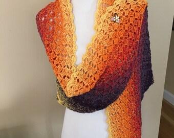 Multicolor triangular shawl