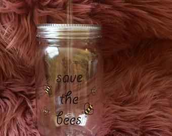 Save the Bees mason jar tumbler