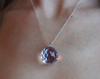 Iridescent Crystal Ball Necklace