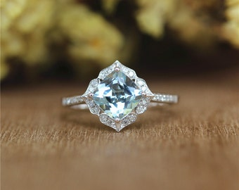 Vintage Floral Cushion 7mm Aquamarine Ring in 14K White Gold,Half Eternity Diamonds/Wedding&Engagement Ring/Promise Ring/Anniversary Ring