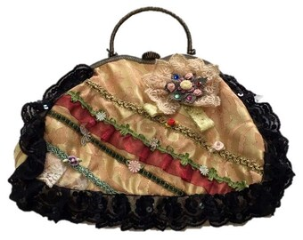 Evening clutch Embroidered & Lace Bags, Shoulder Bag With Handle