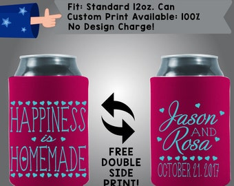 Happiness is Homemade Names Date Collapsible Neoprene Can Cooler Double Side Print (W154)