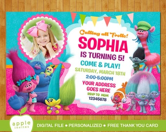Trolls Birthday Invitation, Trolls Invitation, Trolls Party, Trolls Birthday, Trolls, FREE Thank you Card!