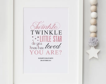 Blue and Pink Personalised Twinkle Twinkle Little Star Do You Know How Loved You Are Nursery Print or Newborn Baby Gift