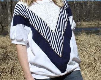 Vintage Nautical Top Jersey Short Sleeve Striped Shirt Athleisure Blouse Medium / Large