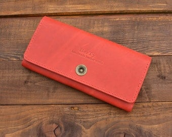 Women Wallet, Red Leather Clutch  Womens Wallet, Leather Purse, Clutch Bag, Leather Pouch, Gift For Her, Red Purse, Red Wallet, women clutch