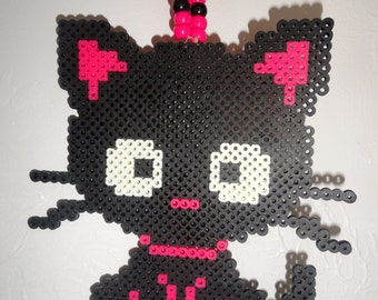 Black and Pink Rave Kitty Kandi Necklace