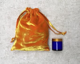 Pink unique smallbag smooth silk velvet yellow hues - mixed cotton bag