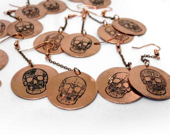 Dangling Skull Earrings in Copper | Copper Jewellery | Handmade | Etched Copper | Gift for her | Embossed | Textured | Dangle | Skull