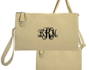 Cream handbag with monogramming