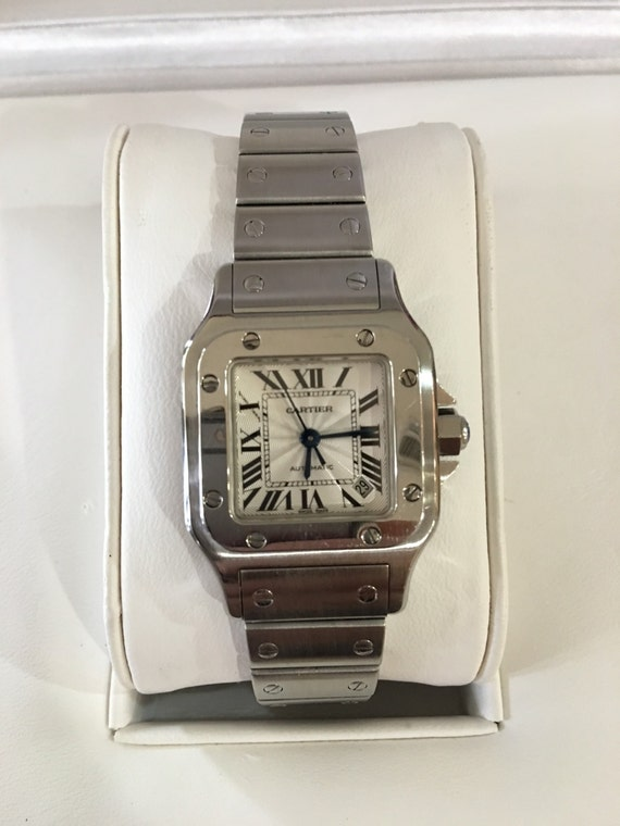 Excellent condition Women's Automatic Cartier Santos-Stainless Steel with original box and extra links-warranty!
