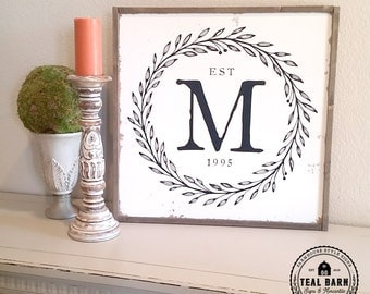 Family Initial Sign Established Date Laurel Wreath Farmhouse Frame Magnolia