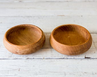 2 Small Dark Wood Bowl Walnut-Food Photography Prop