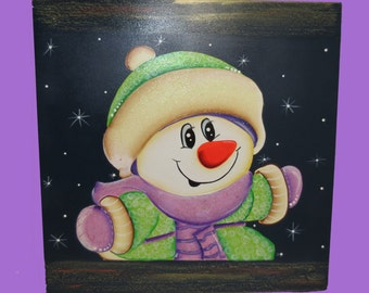 Snowman Wood Painting