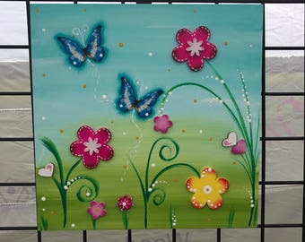 Acrylic wood painting: butterflies.