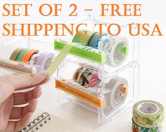 2PC Washi Tape Dispenser Storage Case / Masking Tape Organizer / Tape Holder / Tape Cutter / Tape Dispenser (Free Shipping to USA)