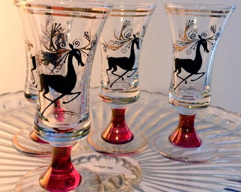 vintage / retro reindeer sherry glasses, red stem