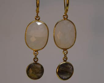 Long earrings with rock crystal and Labradorite