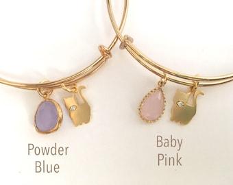 BRCG 107 - Kitty - Gold Bracelet (Select Your Stone)