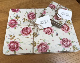 Wooden Hand Decoupage Placemats Emma Bridgewater or Cath Kidston Style