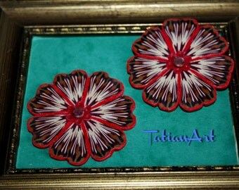 Great Flower 2,16 inch Large Flower Chabochon  Handmade Polymer clay Cabochon Jewelry Supplyes. Code:075