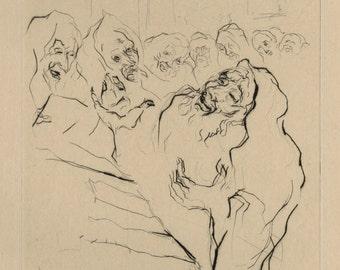 """JAKOB STEINHARDT (German/Isreali, 1887-1968), """"Vorbeter"""", drypoint, 1921, pencil signed"""