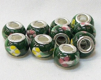 Large hole porcelain beads in green with pink and yellow flowers, set of 10. #15