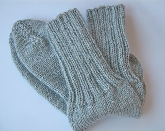 Hand knitted Grey Winter Socks/Hand made Winter socks/Grey Winter Socks/ Grey Socks