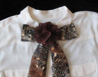 Bow Tie Animal Print Scarf with Brown Flower
