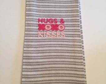 Embroidered Hugs & Kisses Kitchen Towel