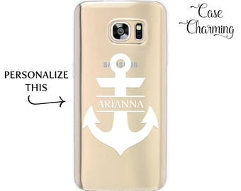 Personalized Phone Case for Samsung Galaxy S8, Samsung Galaxy S7 edge, Anchor Phone Case for Samsung Galaxy S6 edge, Custom Name Phone Case