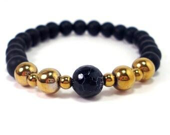 Onyx and Hematite Mens Bracelet,Mens Gift,Mens Bracelet,Gift for Men,Men Gemstone Bracelet,,Beaded Bracelet,Handmade Bracelet