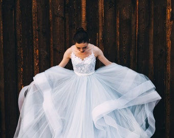 Unique blue wedding dress with ombre skirt, open back and lace bodice 2018 Boom Blush