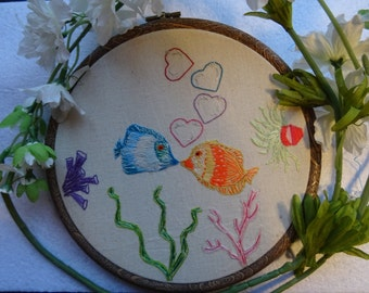Anniversary, Fish, Anniversary  gift, Hand embroidery, Nautical, wall hanging, Embroidery, Home decor, Love, Embroidery hoop art, colourful