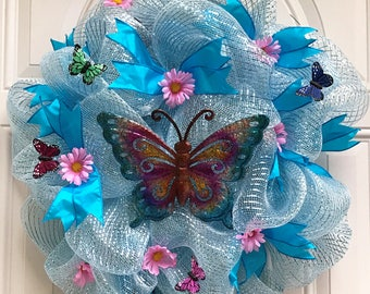 Deco Mesh Wreath, 10 inch Frame, Blue Deco Mesh with Metal Butterfly, Blue Ribbons, Pink Flowers, Little Butterflies, Front Door Wreath
