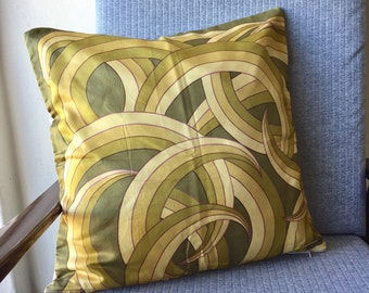 Vintage Greens Whisps Throw Pillow Old Scarf 45x45cm 18x18inch Cushion Cover