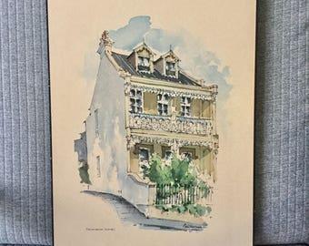 Retro Watercolour Print Vinyl on Board Terrace House Paddington Sydney by Neil Sullivan Architectural Art Building Australia Australiana