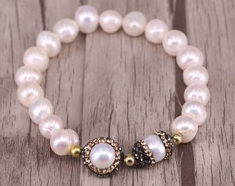 Freshwater Pearl Beaded Bracelet, Pave Diamond Pearl Spacer Beads Bracelet for Women Jewelry