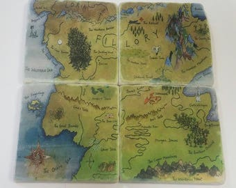 Fillory Map (Piece Together) Tumbled Stone Coaster Set