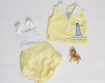 vintage baby boy romper shirt set nautical outfit