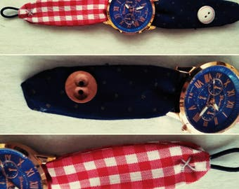 Watch man's fabric. Watch pictures. Original watch. Father's day. Gift.