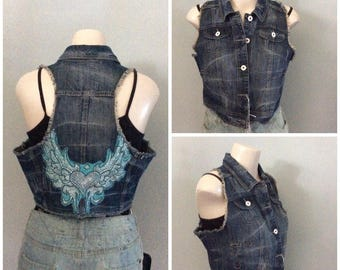 One-of-a-kind   Jean Vest with bling wings on back XL